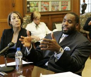 Detroit Mayor Kwame Kilpatrick, seen here attempting to lie his way out of lying to a grand jury.